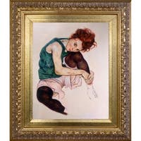 Egon Schiele 'Seated Woman with Legs Drawn Up' Hand Painted Oil Reproduction