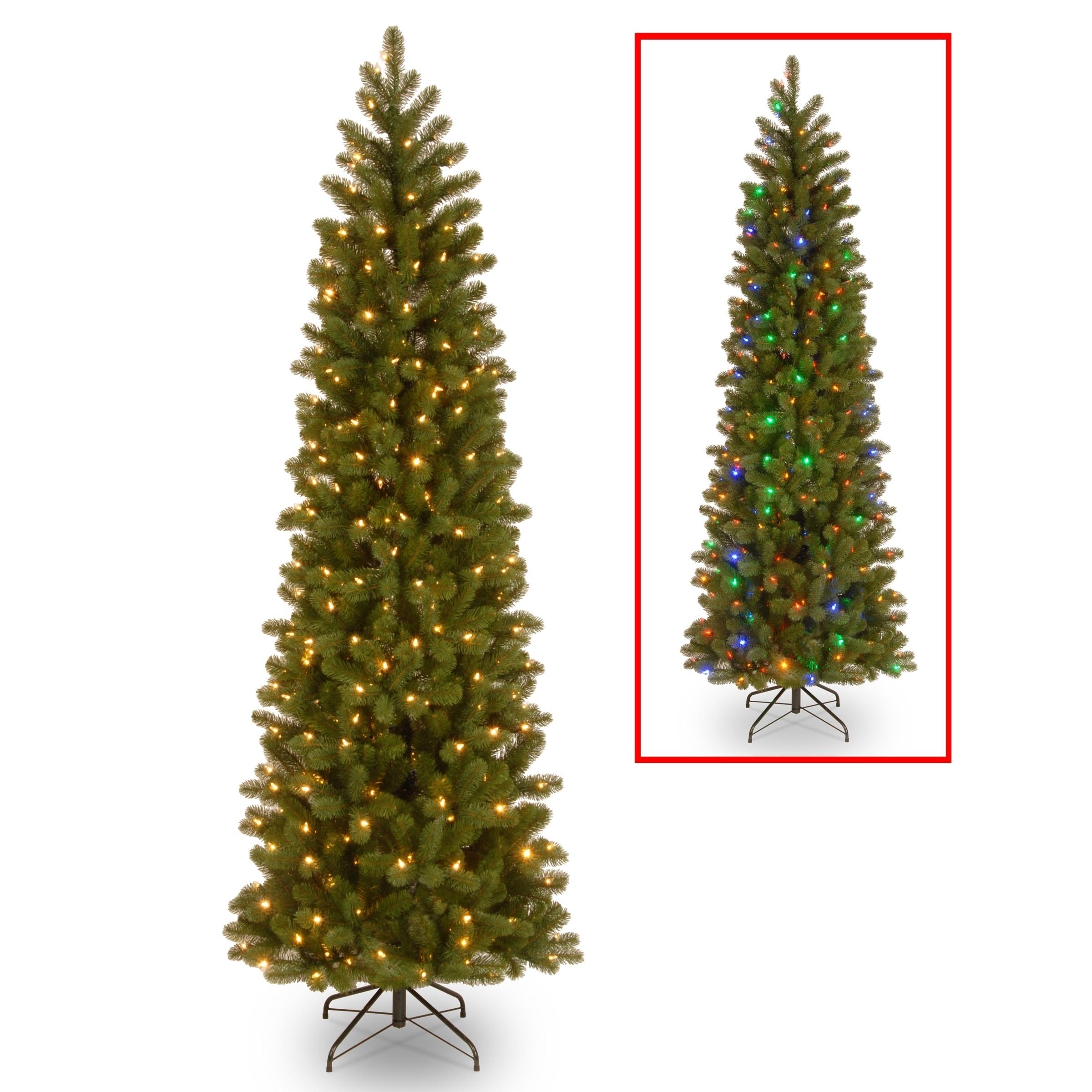 Slim Christmas Tree.6 5 Ft Downswept Douglas Pencil Slim Fir Tree With Dual Color Led Lights
