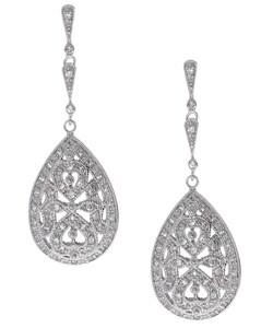 Icz Stonez Sterling Silver CZ Pear Dangle Earrings