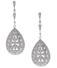 Icz Stonez Sterling Silver Cz Pear Dangle Earrings