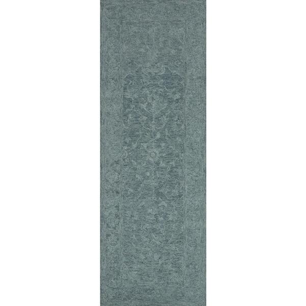 "Alexander Home Opal/Teal Wool Hand-hooked Rug (2'6 x 7'6) - 2'6"" x 7'6"""
