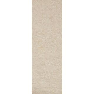 """Opal Blush Pink Wool Hand-hooked Runner Rug (2'6 x 7'6) - 2'6"""" x 7'6"""" Runner"""