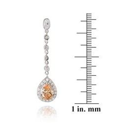Icz Stonez Sterling Silver Pear Shape Teardrop Champagne CZ Drop Earrings - Thumbnail 2