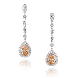 Icz Stonez Sterling Silver Pear Shape Teardrop Champagne CZ Drop Earrings