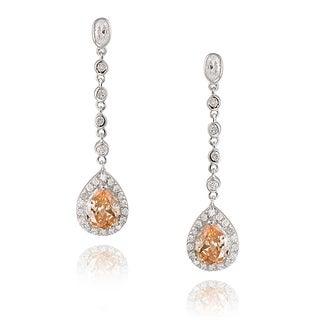 Icz Stonez Sterling Silver Pear Shape Teardrop Champagne CZ Drop Earrings