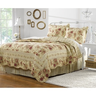 Link to Greenland Home Fashions Antique Rose 3-piece Quilt Set Similar Items in Blankets & Throws