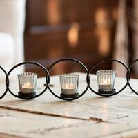 Danya B. Black Iron/ Glass 5-ring Interlocking Votive Candleholder