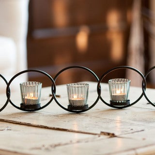 Danya B. Black Iron/ Glass 5-ring Interlocking Votive Candleholder