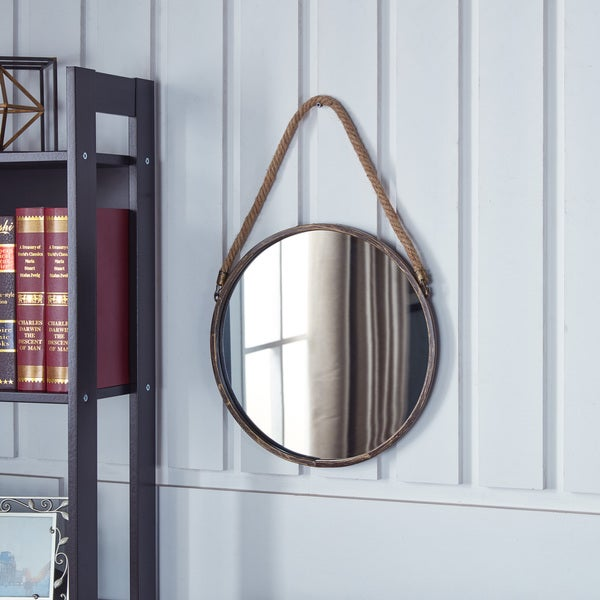 shop danya b patina goldtone 15 inch hanging rope round mirror free shipping on orders over. Black Bedroom Furniture Sets. Home Design Ideas