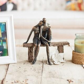Danya B. Couple on Park Bench Brown/Gold Patina Resin Sculpture