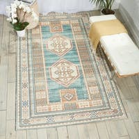 Nourison Madera Teal Green Area Rug - 6'6 x 9'6
