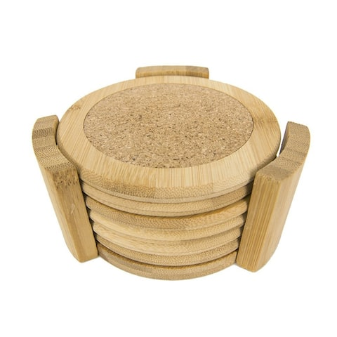 "Sweet Home Collection 6 Piece Bamboo Coaster Set (4.5"")"