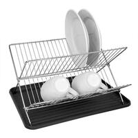 "Sweet Home Collection Folding Dish Rack- Black (15.7""x13.6""x10.6"")"