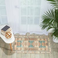 Nourison Madera Traditional Teal Green Area Rug - 2'3 x 3'9