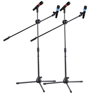 2 pieces Dual Microphone Stand Boom Arm Holder & Mic Clip Stage Studio Tripod