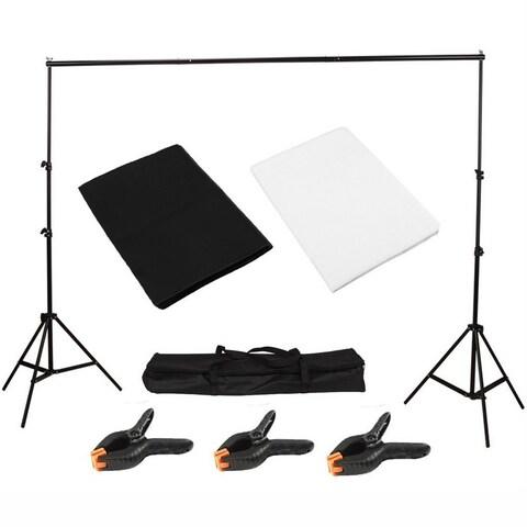 Light Studio Photo Studio Black White Background Backdrop Screen Stand Kit