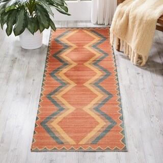 Nourison Madera Aztec Tangerine Runner Rug (2'2 x 7'6)
