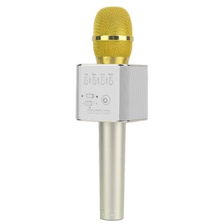 Gold Q9 Super Bass Wireless Bluetooth Mobile Phone Karaoke Microphone Handheld