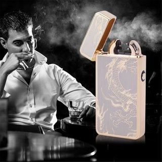 Chinese Dragon Double Arc USB Rechargeable Lighter Windproof Cigarette Lighter