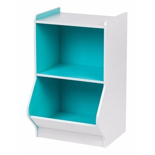 Iris 2-tier White/Blue Wood Storage Shelf