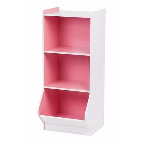 IRIS 3 Tier Kids Bookshelf in White and Pink