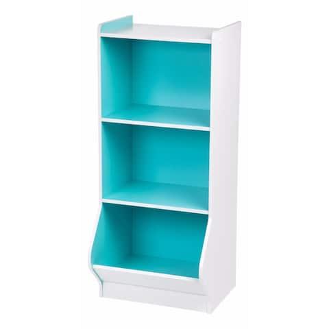 IRIS 3-tier White and Blue Storage Organizer Shelf with Footboard