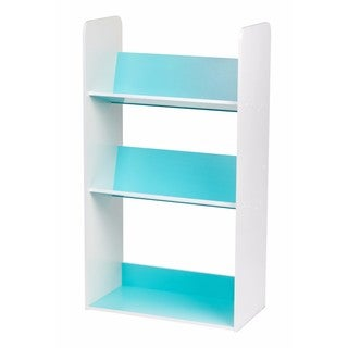 Iris USA Inc. Blue and White Wood 3-shelf Angled Bookcase