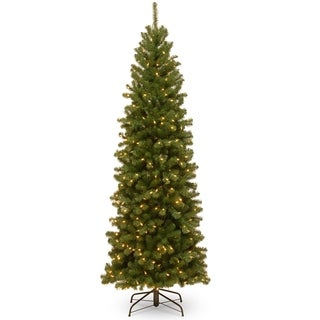 7 ft. North Valley Spruce Pencil Slim Tree with Clear Lights - 7'