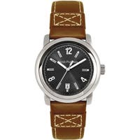 Hush Puppies Men's Quartz Brown Leather Strap Watch - Silver