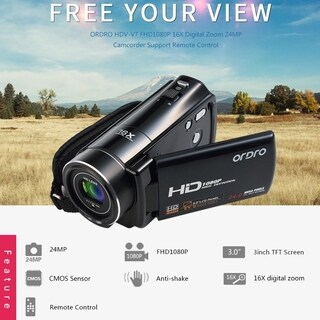 3.0 Inch LCD 1920*1080P 24MP 270 Degree Digital Video Camera Camcorder HDV-V7