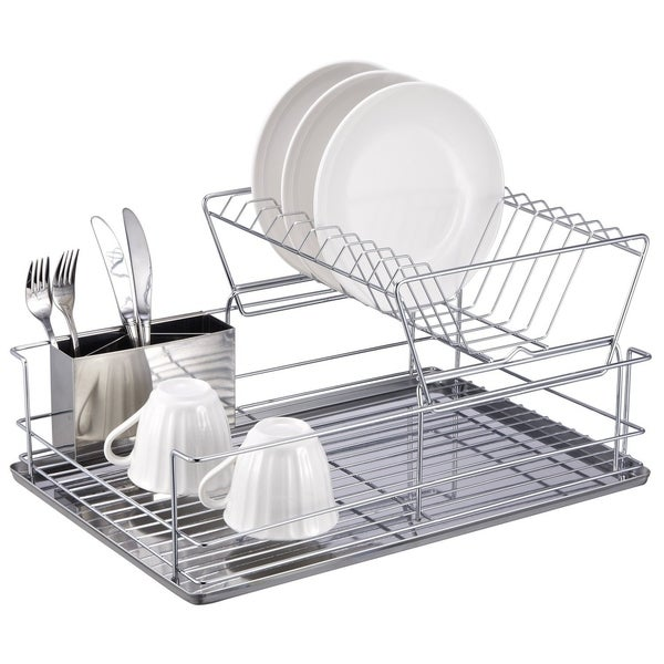 "Sweet Home Collection Two Tier Stainless Steel Dish Rack (12.5""X18.75""X9"")"