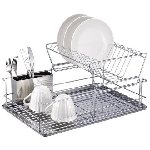 """Sweet Home Collection Two Tier Stainless Steel Dish Rack (12.5""""X18.75""""X9"""")"""