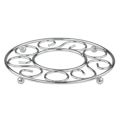 "Sweet Home Collection Scroll Collection Chrome Trivet (8""x8""x0.75"")"