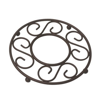 "Sweet Home Collection Scroll Collection Bronze Trivet (8""x8""x0.75"")"