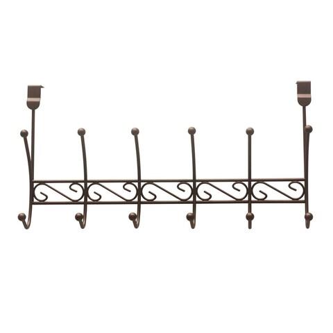 """Sweet Home Collection Bronze Six Hook Over The Door Rack (19.75""""x5""""x9.75"""")"""