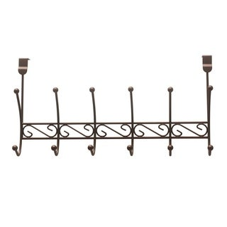 "Sweet Home Collection Bronze Six Hook Over The Door Rack (19.75""x5""x9.75"")"
