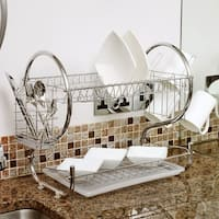 "Sweet Home Collection Two Tier Chrome Dish Drainer (20""x13""x10"")"
