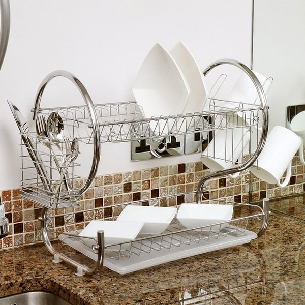 """Sweet Home Collection Two Tier Chrome Dish Drainer (20""""x13""""x10"""")"""
