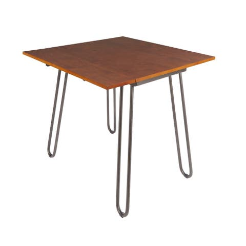 Henry Drop Leaf Table with Hairpin Legs - Brown