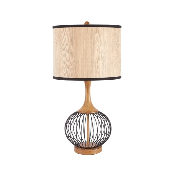 "Felix 18"" Table Lamp with Metal Cage and Faux Wood Shade"
