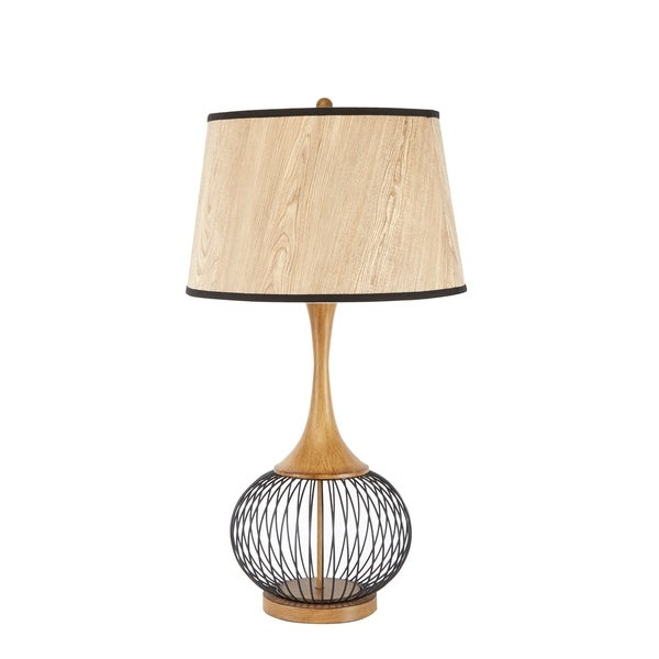 "Felix 23"" Table Lamp with Metal Cage and Faux Wood Shade"