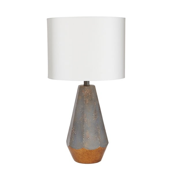 "18"" Rustic Prism Table Lamp with Gold Accent"