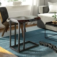 Furniture of America Monel Industrial Rustic Natural Tone Side Table