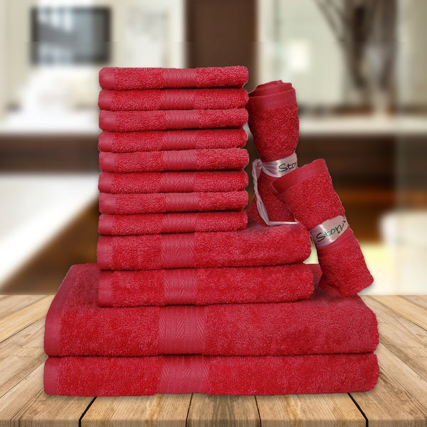 Absorbent Combed Cotton 14-Piece Towel Set (2-Bath, 2-Hand, 10-Wash)