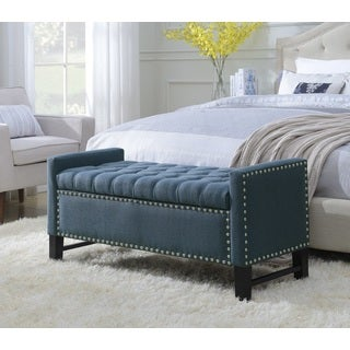Chic Home Frederick Modern Button-Tufted Silver Nailhead Linen Storage Bench