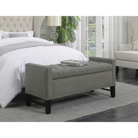Chic Home Frederick Linen Button-tufted Storage Bench