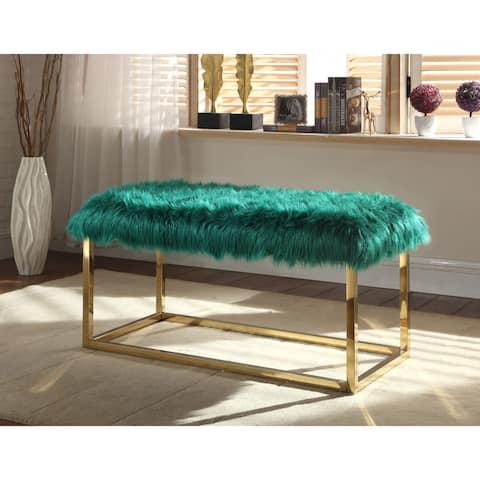 Chic Home Carolyn Fur Chrome Metal Frame Modern Luxe Ottoman Bench