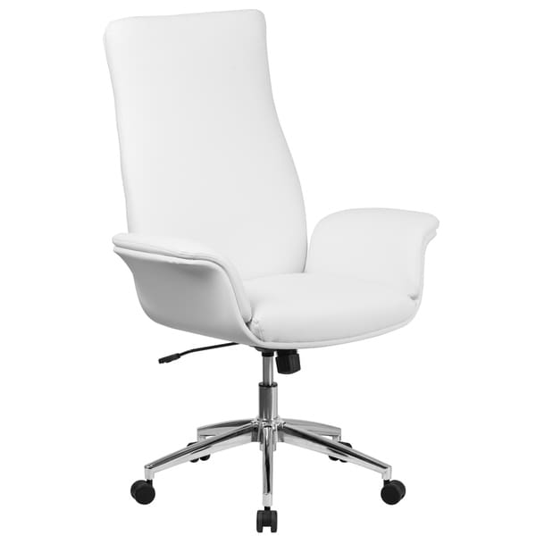 Executive High Back White Leather Adjustable Swivel Office Chair With Flared Arms
