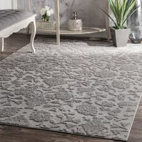 nuLOOM Contemporary Dark Grey Embossed Floral Garden Area Rug - 7'6 x 9'6
