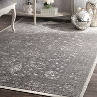 The Gray Barn Ruthie Traditional Floral Etched Centerpiece Dark Grey Border Rug - 7'6 x 9'6